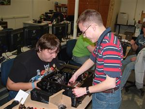 Comp Tech students building a computer
