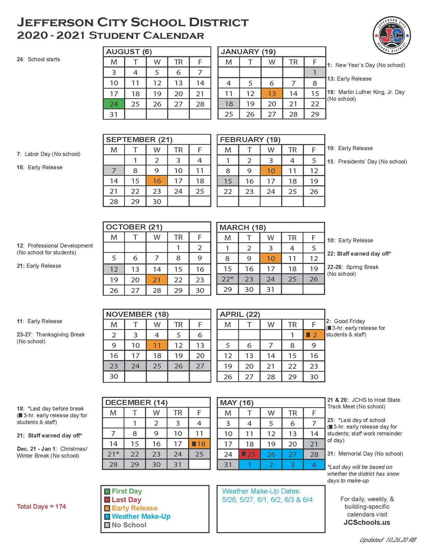 Annual District Calendar / 2020-2021 Student Calendar
