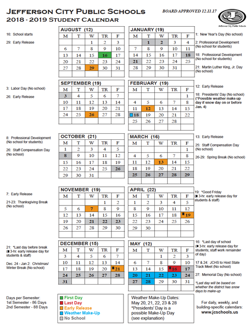 Yearly District Calendar Printable 2018 19 Student Calendar