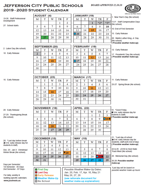 Yearly District Calendar Printable 2019 2020 Student Calendar