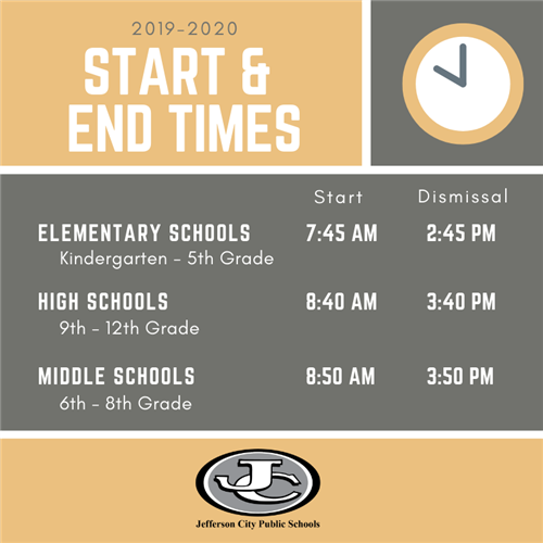 2019-2020 New JCPS Start and End Times